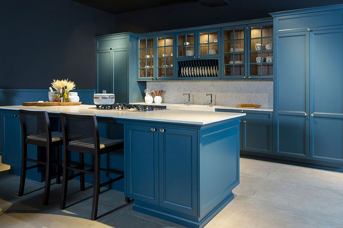 Silestone Quartz in Blue Kitchen